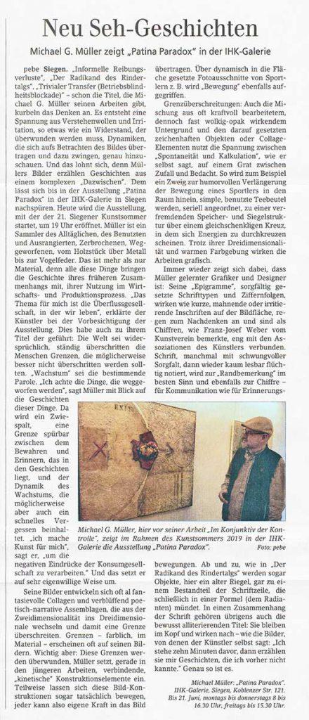Siegener Zeitung · 2. Mai 2019